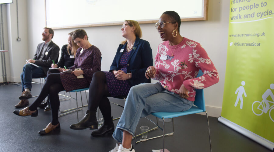 Jools Walker at Sustrans' Women and Cycling Roundtable event, The Whitespace, Edinburgh.